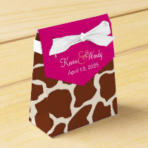 Custom Pink Giraffe Wedding Favor Boxes