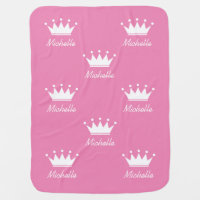 Custom pink girls baby blanket with princess crown
