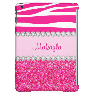 Custom Pink Glitter Case Savvy Zebra iPad Air Case