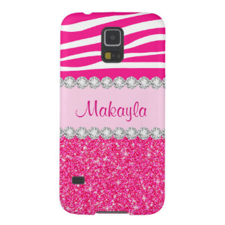 Custom Pink Glitter Sparkles Zebra Galaxy 5 Case Cases For Galaxy S5