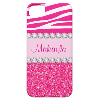 Custom Pink Glitter Sparkles Zebra iPhone 5 Case