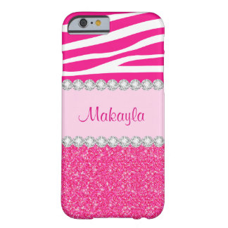 Custom Pink Glitter Sparkles Zebra iPhone 6 Case