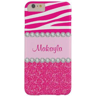 Custom Pink Glitter Zebra iPhone 6 Plus Case