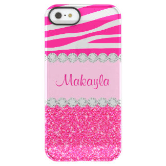 Custom Pink Glitter Zebra Permafrost iPhone 5 Case