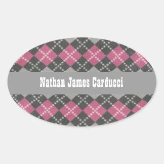 Custom Pink Gray Argyle Book Belongs To Envelope S Oval Sticker