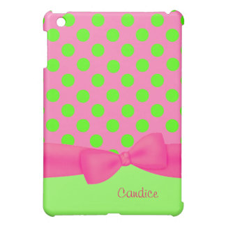 Custom Pink & Green Polka Dot iPad Mini Case