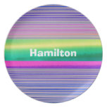 Custom Pink, Green, Yellow and Lavender Tie Dye Party Plate
