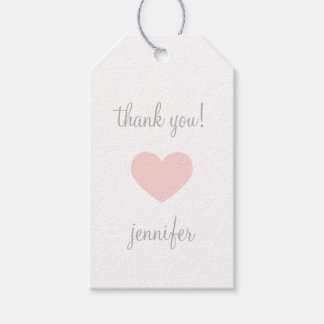 Custom Pink & Grey Heart Thank You Gift Tags