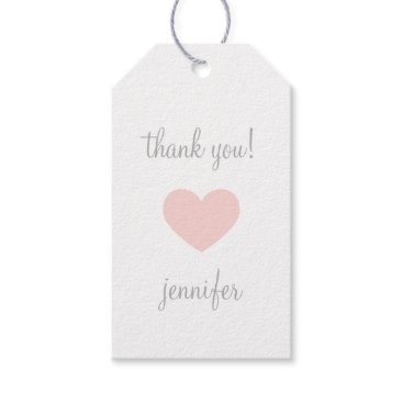 Valentines Themed Custom Pink & Grey Heart Thank You Gift Tags