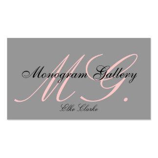 Custom Pink Grey White Monogram Business Card