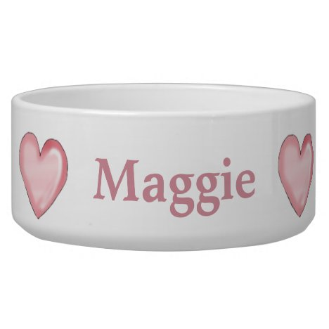 Custom Pink Hearts Dog Bowl
