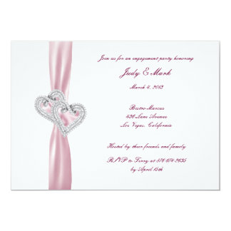 Custom Pink Hearts Engagement Party Invitation