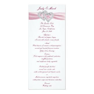 Custom Pink Hearts Menu Card