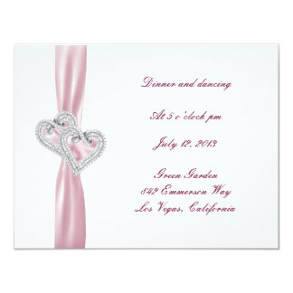 Custom Pink Hearts Reception Card