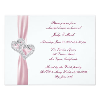 "Custom Pink Hearts Rehearsal Dinner Invitation 4.25"" X 5.5"" Invitation Card"