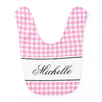 Custom pink houndstooth pattern baby bib for girl