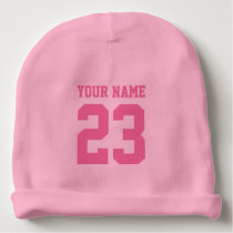 Custom pink jersey number baby beanie hat for girl