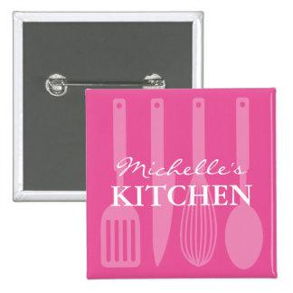 Custom pink kitchen utensils name badge buttons