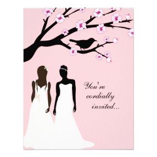 Custom Pink Lesbian Wedding Invitation