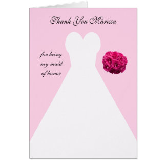 Custom Pink Maid of Honor Thank You Card