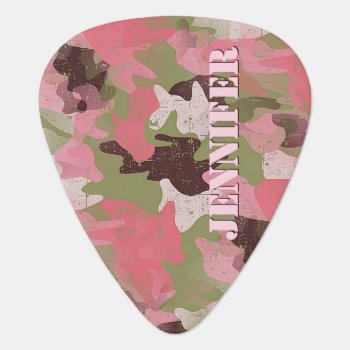 Custom Pink Military Green Camouflage Pattern Guitar Pick by All_In_Cute_Fun at Zazzle