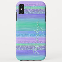 Custom Pink Mint Green Blue Purple Stripes Pattern iPhone XS Max Case