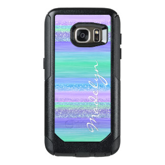 Custom Pink Mint Green Blue Purple Stripes Pattern OtterBox Samsung Galaxy S7 Case