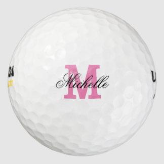 Custom pink name monogram golf balls for women