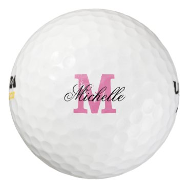 logotees Custom pink name monogram golf balls for women