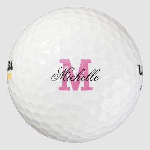 Custom pink name monogram golf balls for women Pack Of Golf Balls