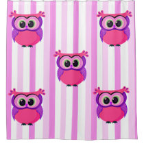 Custom pink owl children bathroom design shower curtain