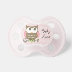 Custom Pink Owl Pacifier at Zazzle