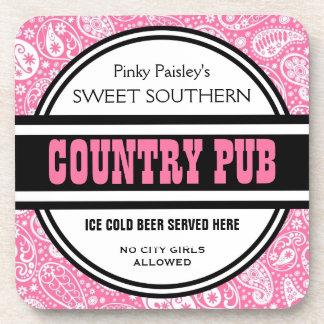 Custom Pink Paisley Country Pub Coasters