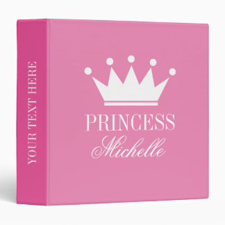 Custom pink princess crown baby photo album 3 ring binder