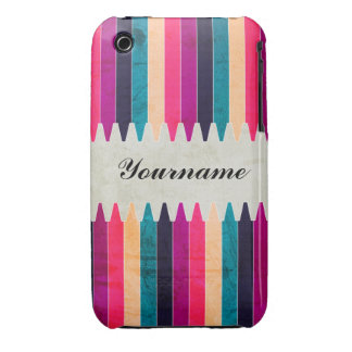Custom Pink Purple Teal Crayons iPhone 3 Cover