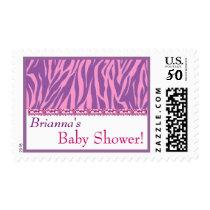 Custom Pink Purple White Zebra Print Baby Shower Postage