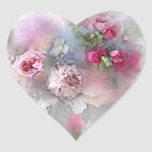Custom Pink Red Roses Watercolor Blank Template Heart Sticker
