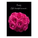 Custom Pink Roses Be My Bridesmaid Card