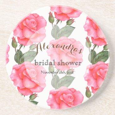 Professional Business Custom Pink Roses Bridal Showers Coaster