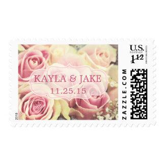 Custom Pink  Roses Bridal Wedding Postage
