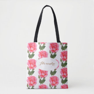 Custom Pink Roses Floral Art Tote Bag