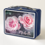 """Custom Pink Roses Floral Photo Metal Lunch Box<br><div class=""""desc"""">Lunch box with pink roses design on dark background.</div>"""