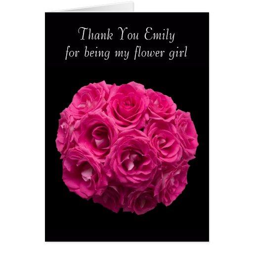 Custom Pink Roses Flower Girl Thank You Card