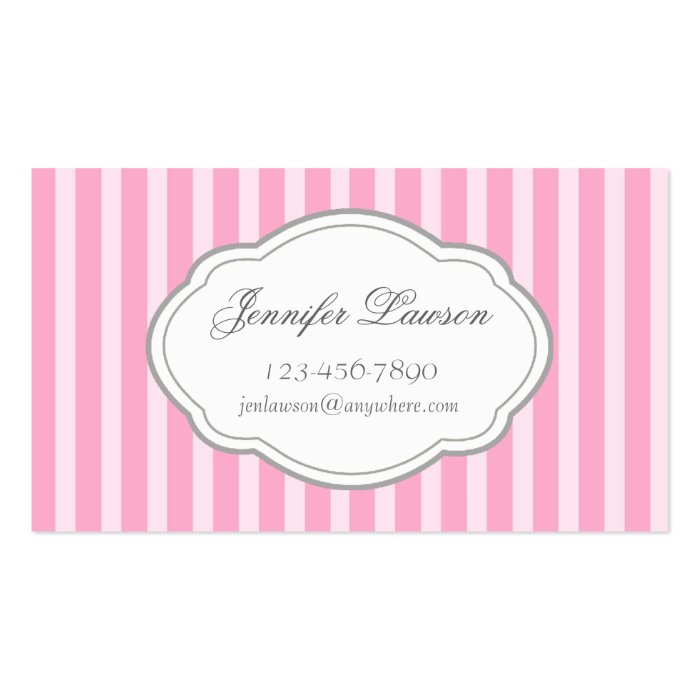 custom pink striped business card template zazzle