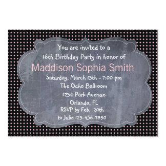 Custom Pink Sweet 16 Birthday Invitations