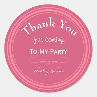 Custom Pink Thank You Sticker