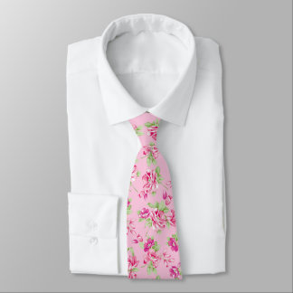 Custom Pink & Violet Red Roses on pink Neck Tie