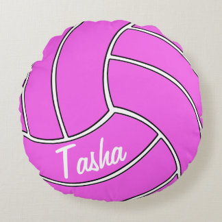 Custom Pink Volleyball Round Pillow