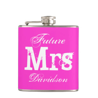 Custom pink wedding drink flask for bride to be