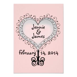 Custom Pink Wedding Invitation Hearts Swirls